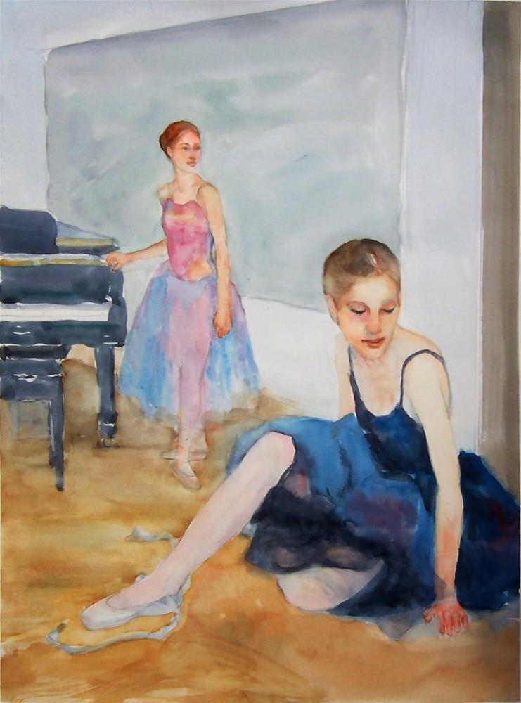 """Wait for the Music,figure,watercolor,20x15,price$250"" original fine art by Joy Olney"