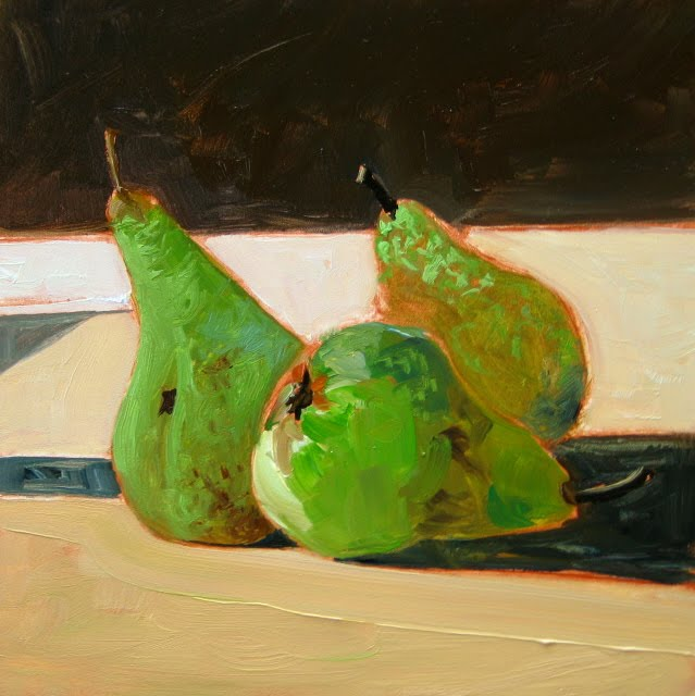 """Three Green Pears  oil still life painting"" original fine art by Robin Weiss"