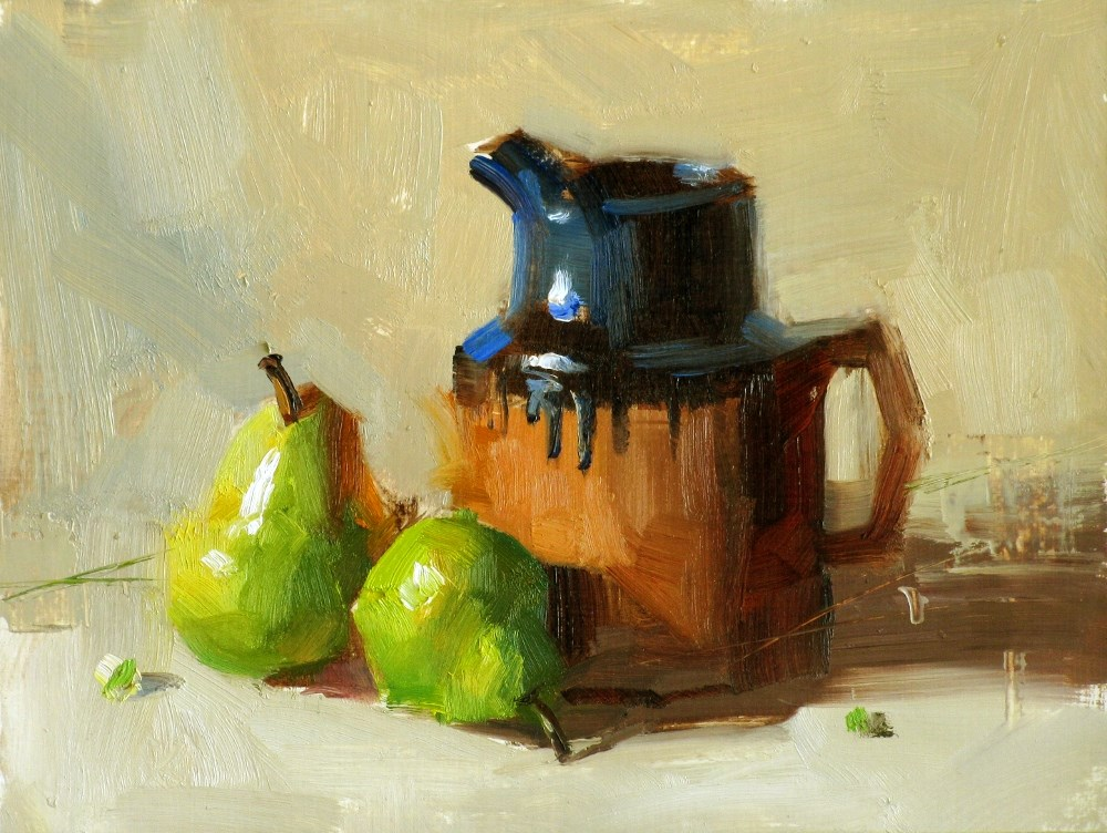 """""""Pot and Pears"""" original fine art by Qiang Huang"""