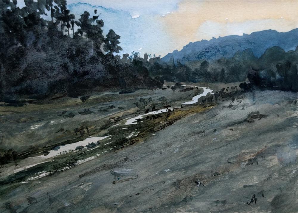 """Evening on the Teesta river"" original fine art by Mandar Marathe"