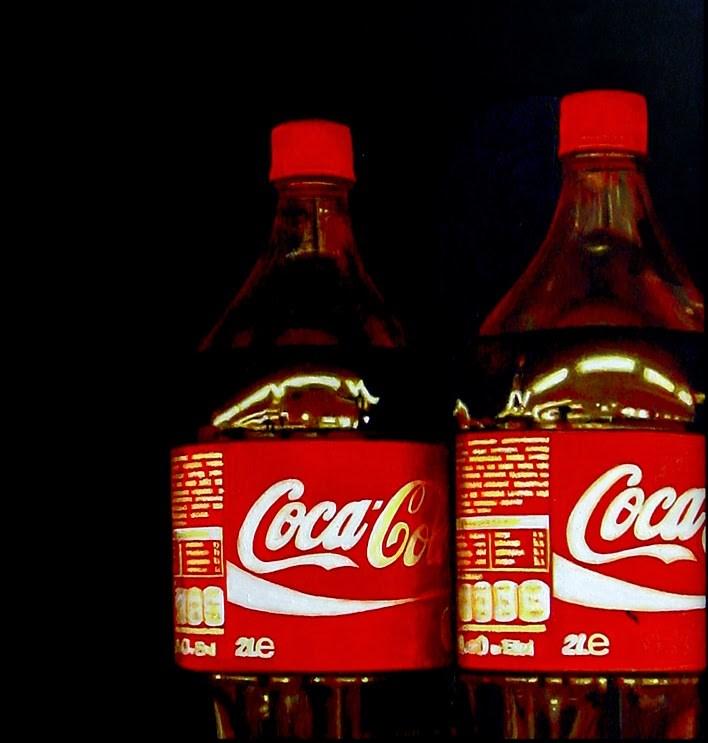 """Coca Cola Bottles- Still Life Painting Of Two Coke Bottles"" original fine art by Gerard Boersma"