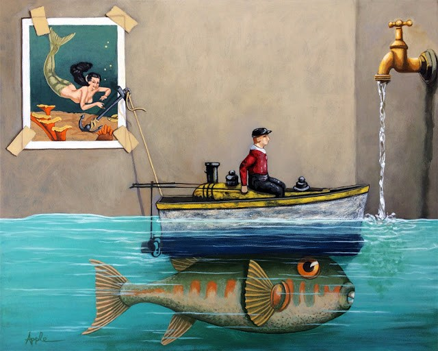 """""""Anyfin Is Possible - Fisherman toy boat and Mermaid whimsical storyteller still life painting"""" original fine art by Linda Apple"""