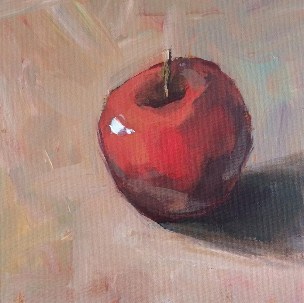 """Single Red Apple No. 3"" original fine art by Shannon Bauer"
