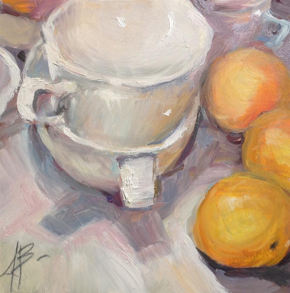 """White Cups and Oranges"" original fine art by Annette Balesteri"