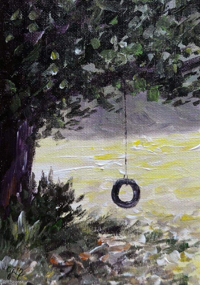 """SALE!!! Tire Swing Days"" original fine art by Gloria Ester"