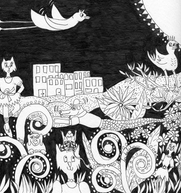 """Dancing in the Park"" original fine art by Lou Belcher"