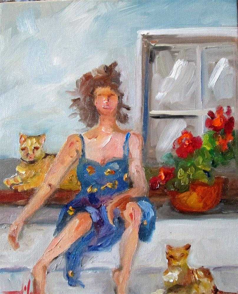 """Lady and Cats"" original fine art by Delilah Smith"