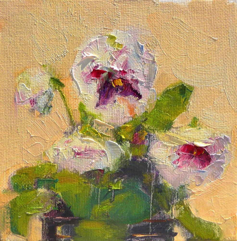 """Dancing Pansies,still life,oil on canvas,6x6,price$200"" original fine art by Joy Olney"