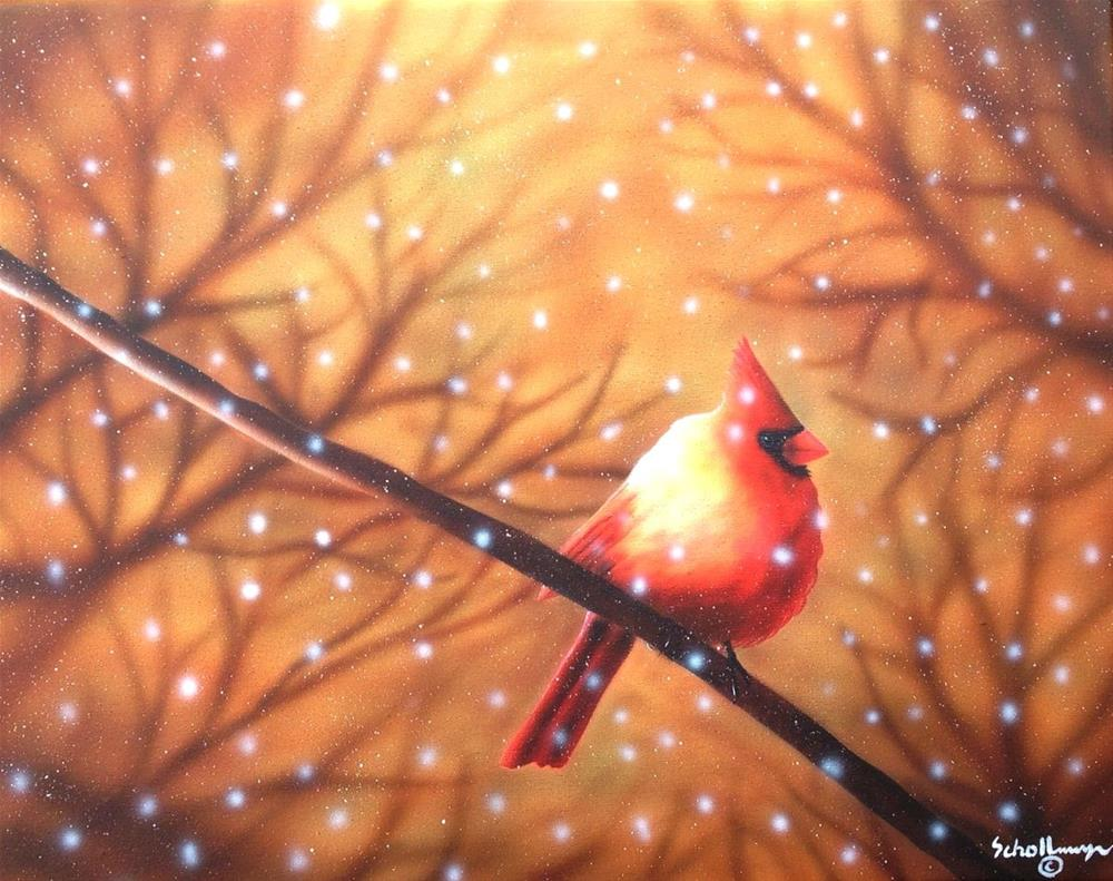 """""""Cardinal with Sunlight and Snow"""" original fine art by Fred Schollmeyer"""