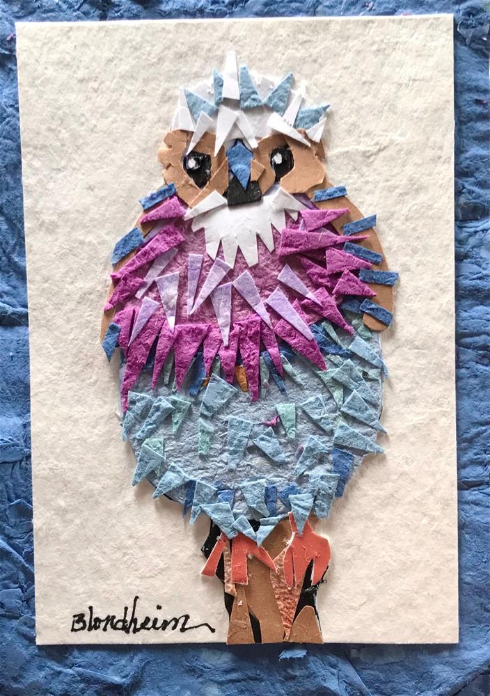 """Colorful Finch Collage"" original fine art by Linda Blondheim"