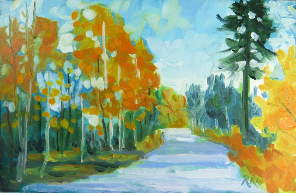 """Fall Road in the Sierras"" original fine art by Rhett Regina Owings"