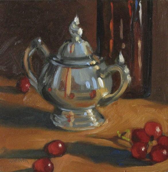 """Grape reflections 6x6 oil"" original fine art by Claudia Hammer"