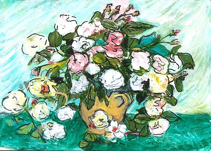 """""""ACEO Still Life Vase with Pink Roses in the Style of Van Gogh by Penny StewArt"""" original fine art by Penny Lee StewArt"""