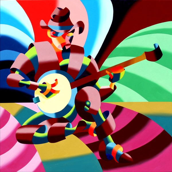 """""""Mark Webster - The Futurist Cowboy Banjo Player - Abstract Oil Painting"""" original fine art by Mark Webster"""