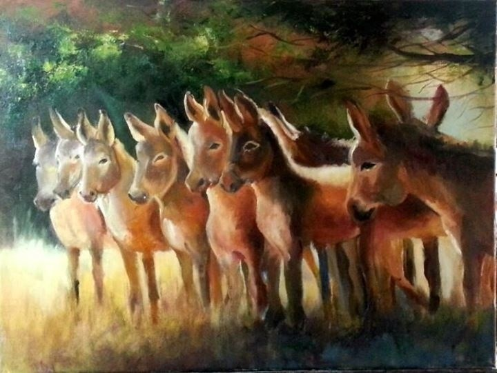 """""""Sharing the shade"""" original fine art by Ronel Alberts"""