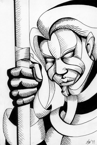 """Mark Webster - Untitled Mask Portrait Pen and Ink Drawing"" original fine art by Mark Webster"