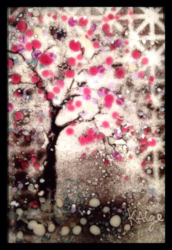 """Plum Blossoms"" original fine art by Kelly Alge"