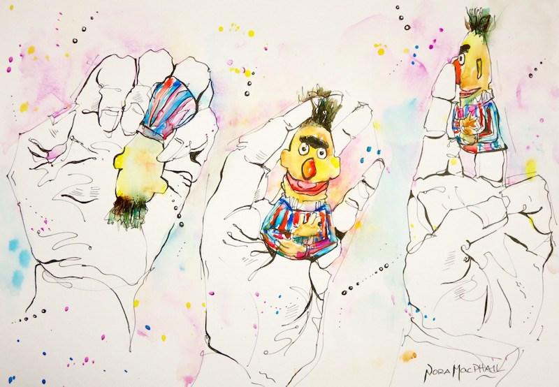 """hand studies with Bert"" original fine art by Nora MacPhail"