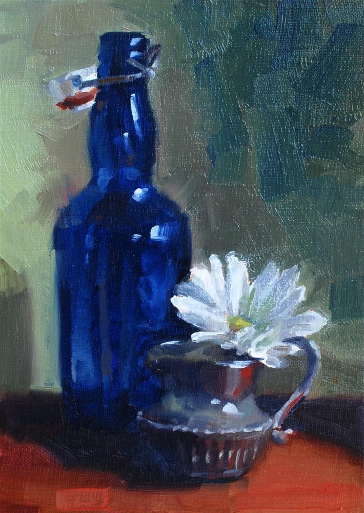 """""""No. 677 Don's Blue Bottle #2"""" original fine art by Susan McManamen"""