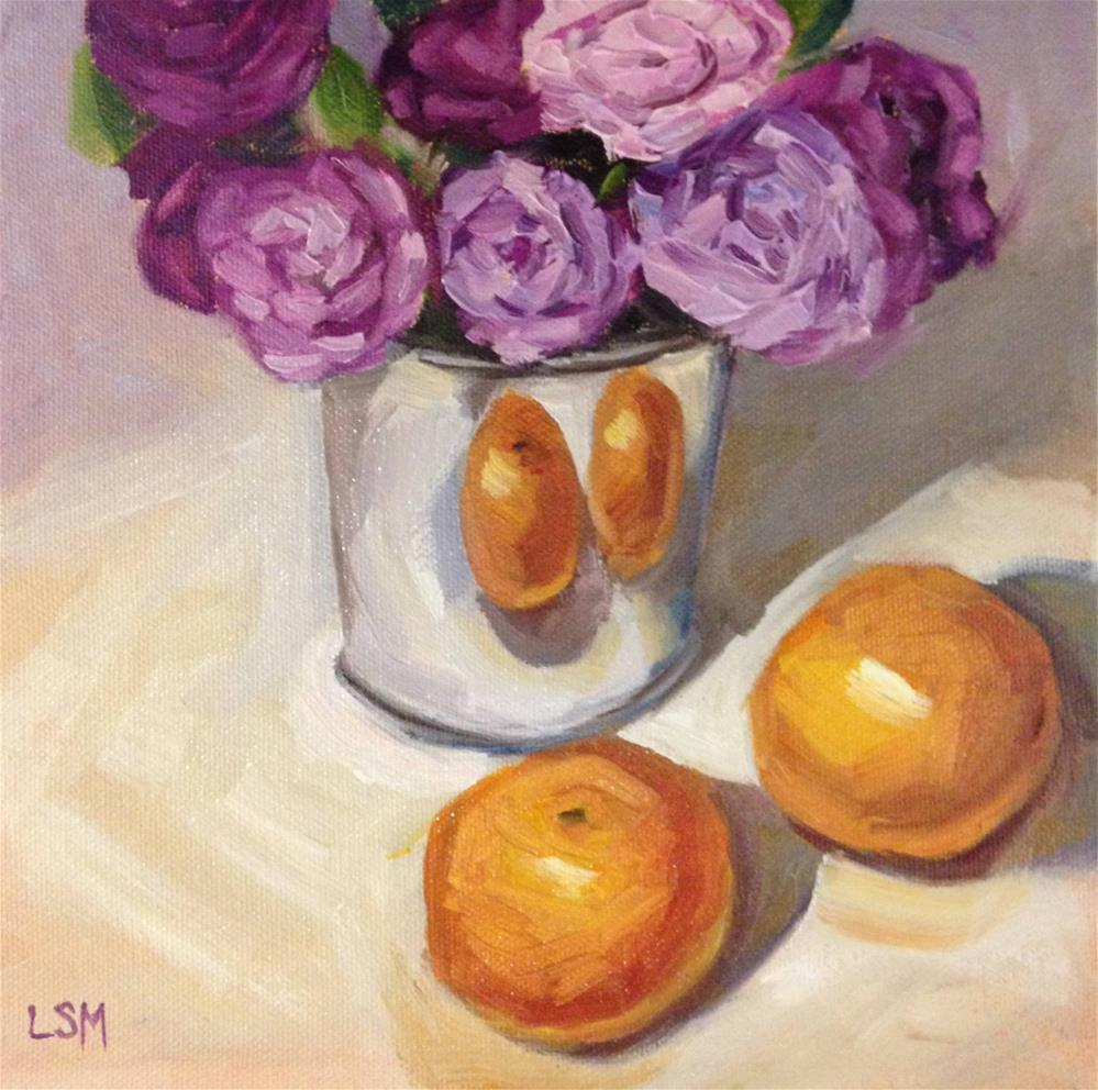 """Tangerines and Purple Carnations"" original fine art by Linda Marino"