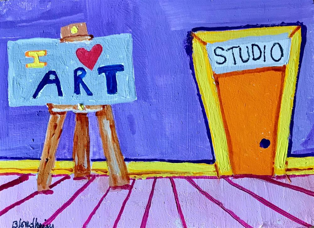 """Studio Toons I Love Art"" original fine art by Linda Blondheim"