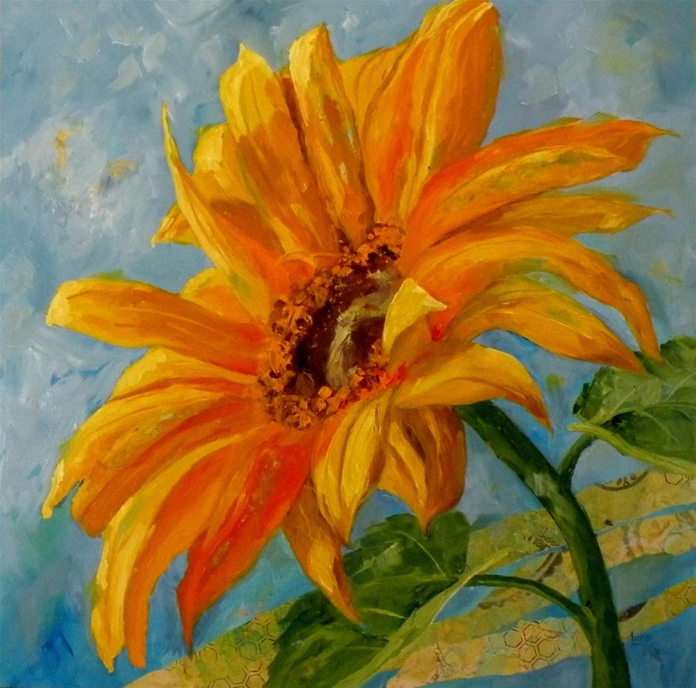 """SUNFLOWER IN SEASON OIL ON MIXED MEDIA CRADLED PANEL © SAUNDRA LANE FINE ART"" original fine art by Saundra Lane Galloway"