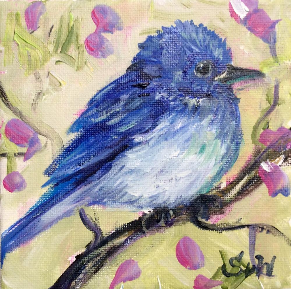"""Bluebird and blossoms"" original fine art by Sonia von Walter"