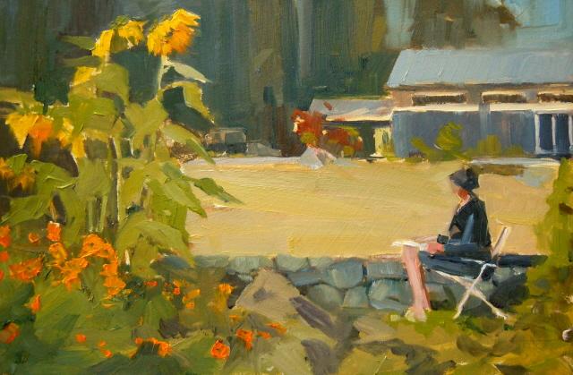 """More Sunflowers,  plein air sunflower oil paintings"" original fine art by Robin Weiss"