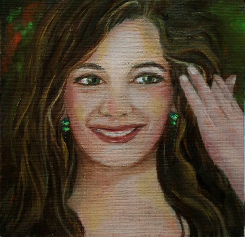 """""""Emerald Earrings"""" original fine art by Jean Nelson"""
