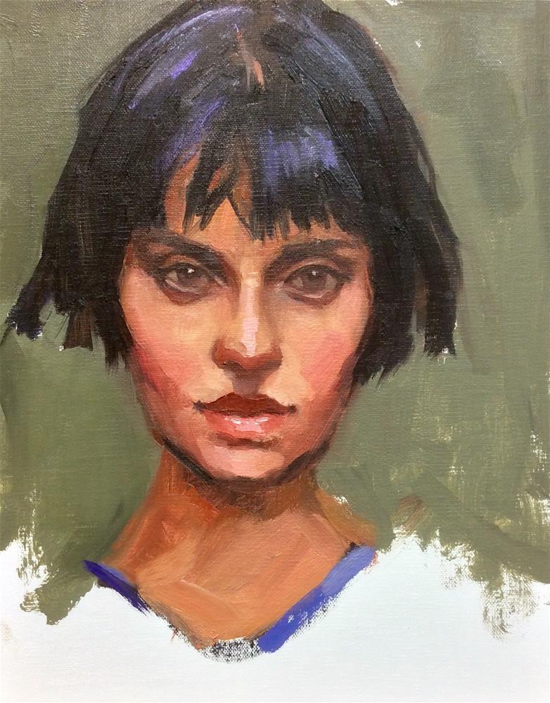 """The Girl with the bob"" original fine art by Laurie Johnson Lepkowska"