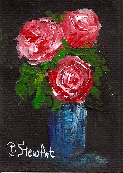 """ACEO 3 Roses in Bloom Spring Floral Acrylic OOAK Flowers not a print"" original fine art by Penny Lee StewArt"