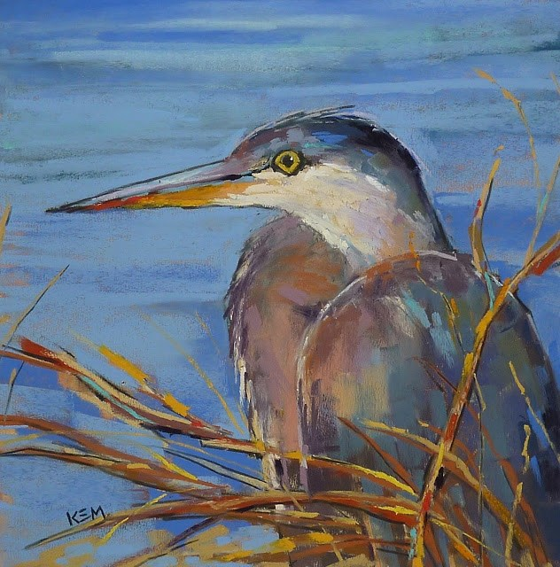 """""""First Steps in Painting a Bird ... Great Blue Heron Painting"""" original fine art by Karen Margulis"""