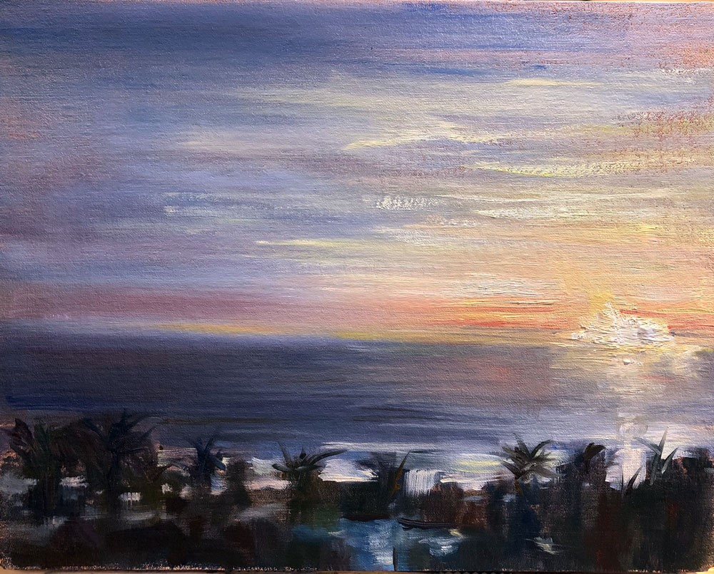"""Mumbai Executive Lounge Plein Air"" original fine art by Garry Kravit"