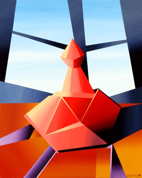 """Mark Adam Webster - Abstract Wine Decanter Acrylic Still Life Painting"" original fine art by Mark Webster"