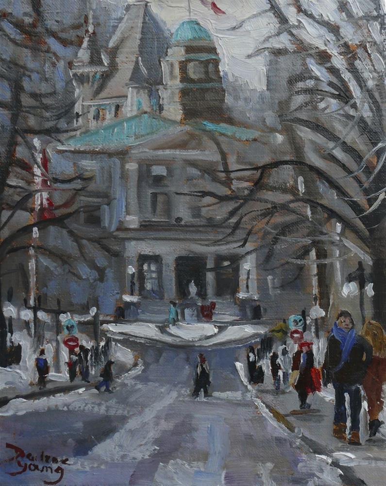 """Montreal Winter Scene, McGill"" original fine art by Darlene Young"