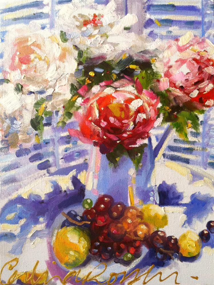 """""""FRENCH BLUE AND ROSES"""" original fine art by Cecilia Rosslee"""