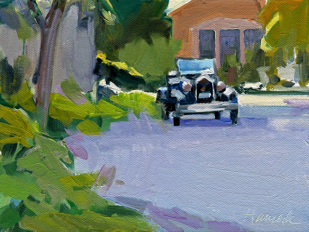"""Carriage House and Car"" original fine art by Gretchen Hancock"