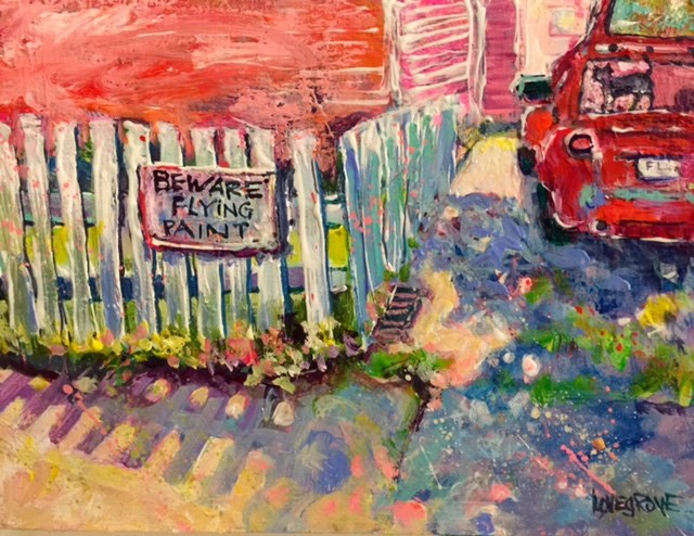 """Beware Flying Paint"" original fine art by Leoma Lovegrove"