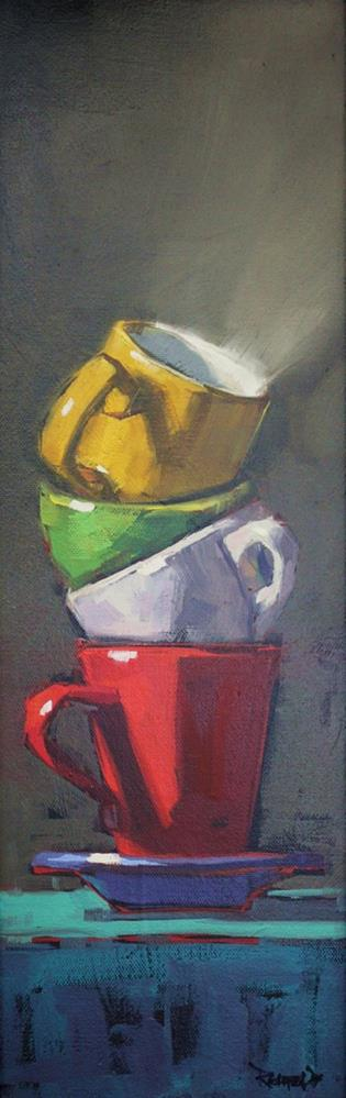 """""""Stacked Cups"""" original fine art by Cathleen Rehfeld"""