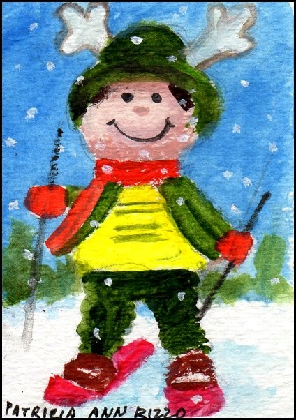 """""""Tiny Downhill Skier"""" original fine art by Patricia Ann Rizzo"""