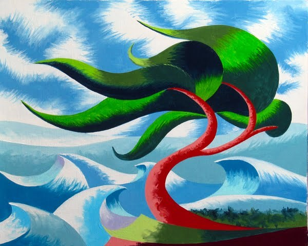 """Mark Webster - Abstract Geometric Cypress Tree 5 - Ocean Landscape Oil Painting"" original fine art by Mark Webster"