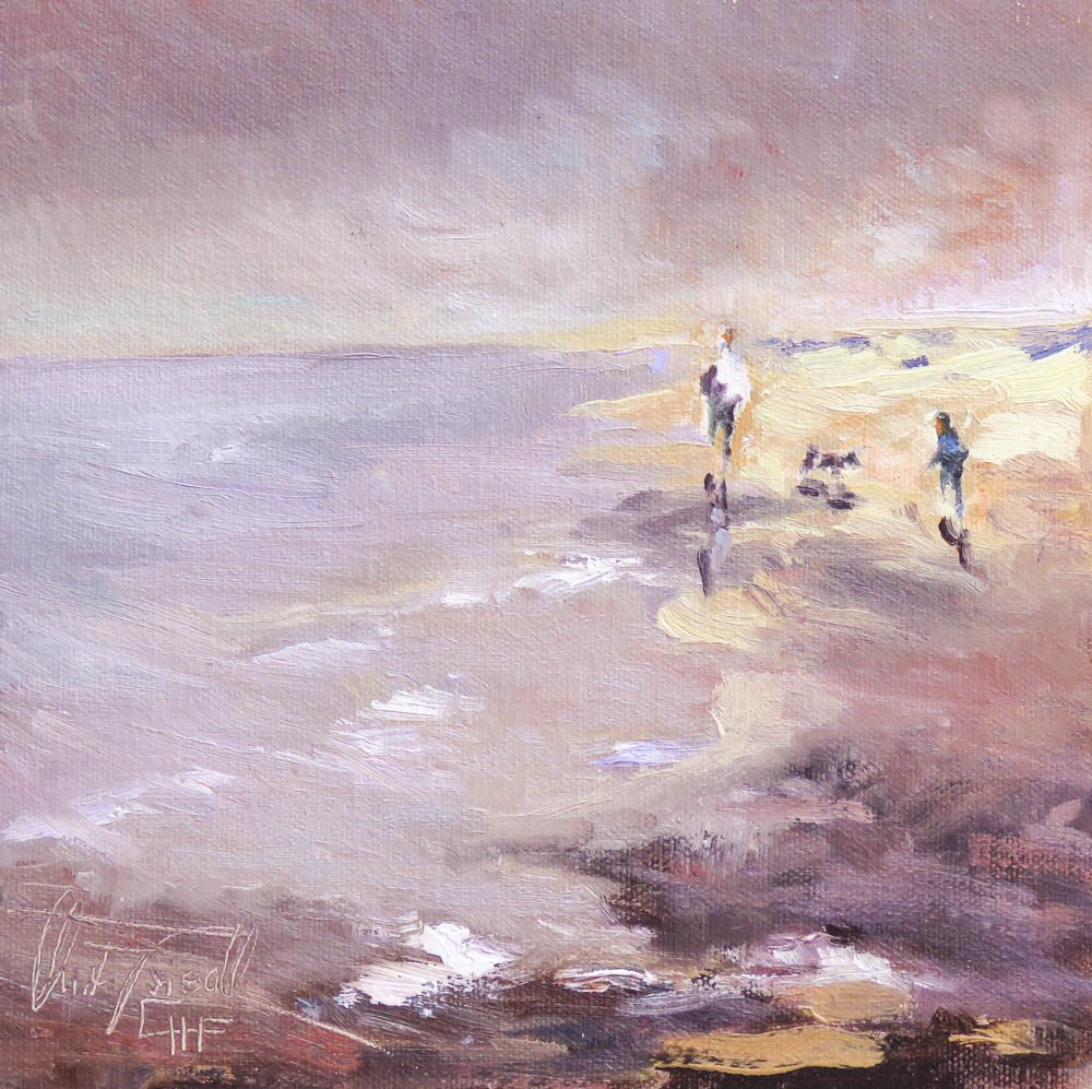 """""""late afternoon at the beach"""" original fine art by Christa Friedl"""