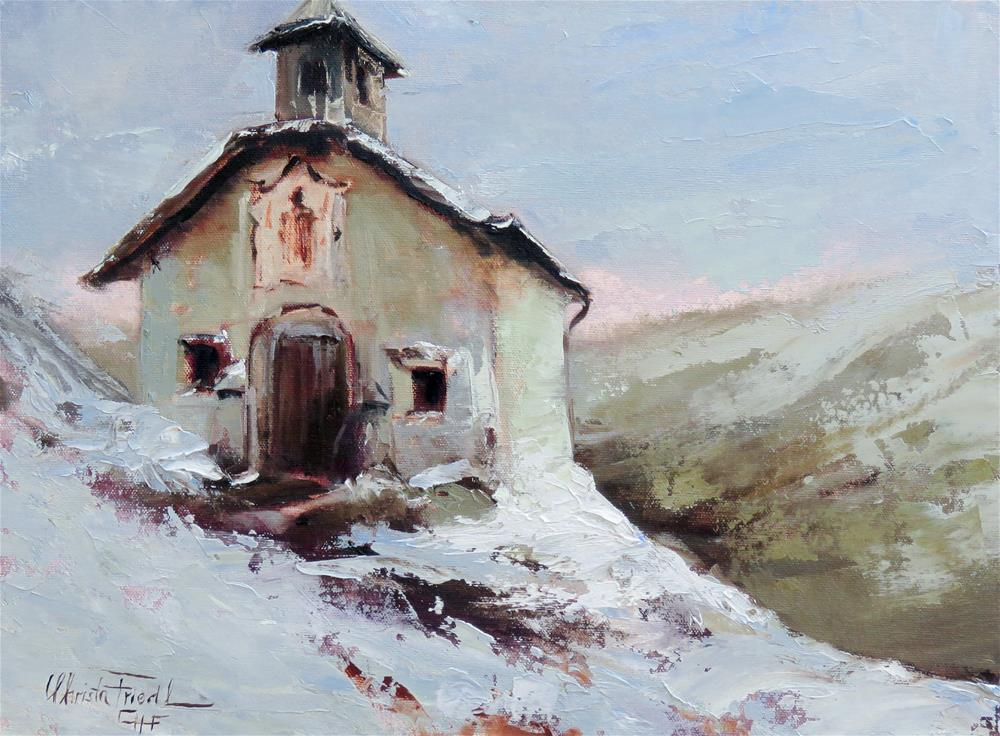 """The little chapel high up in the mountains"" original fine art by Christa Friedl"