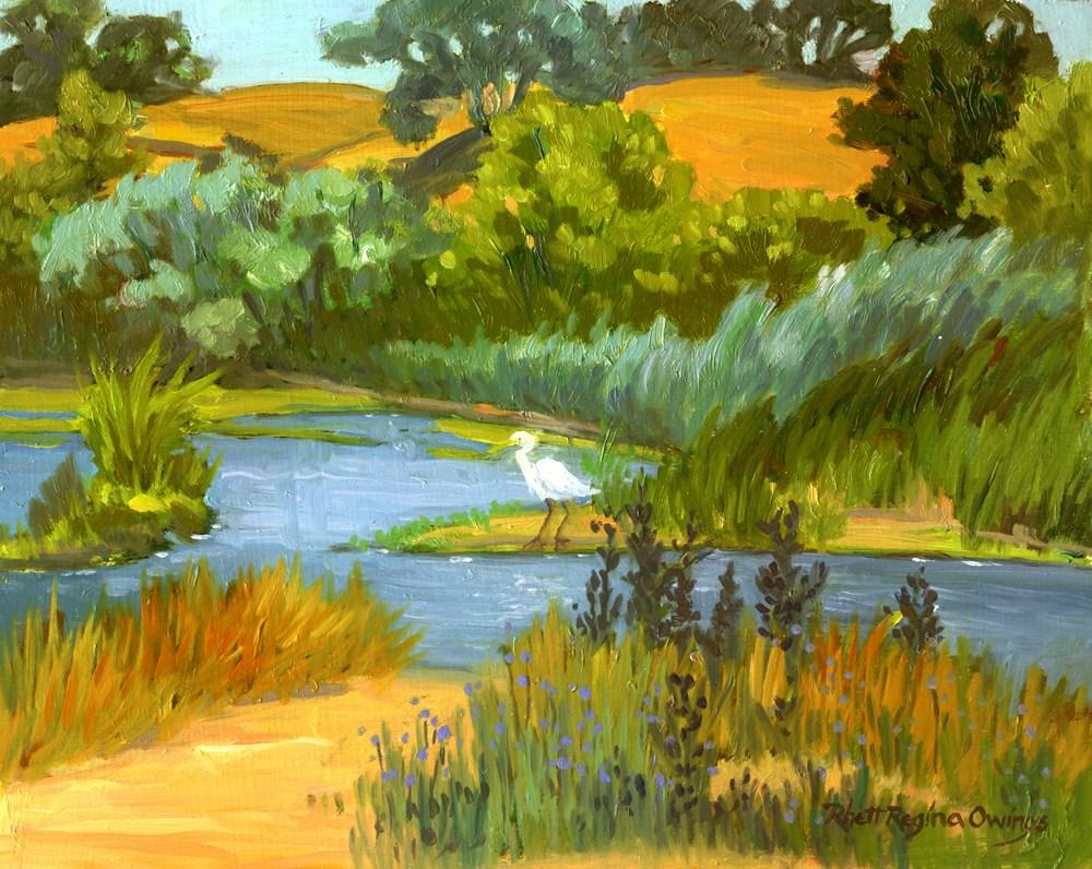 """""""Pond With Egret"""" original fine art by Rhett Regina Owings"""