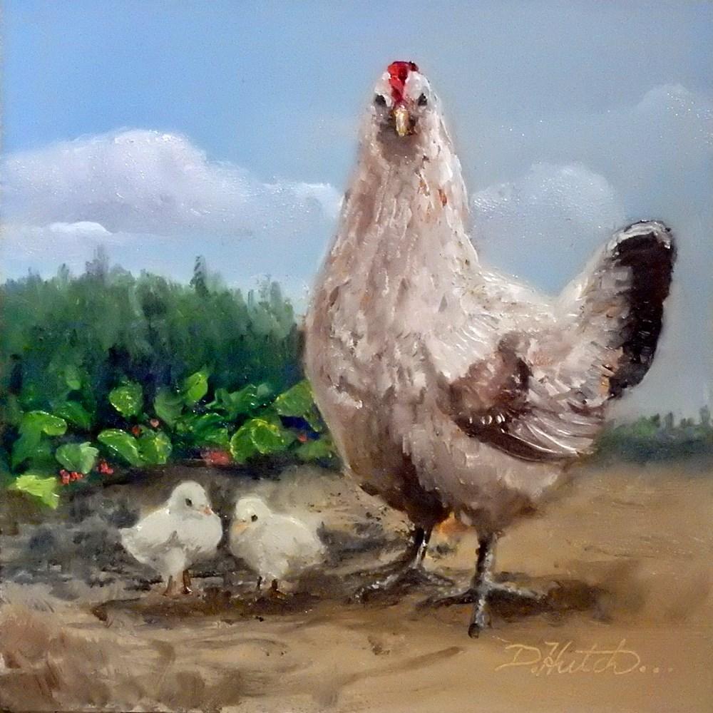 """""""Hen and Chicks"""" original fine art by Diane Hutchinson"""
