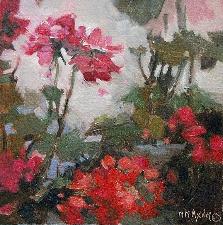 """Geranium Stem, small floral in oil"" original fine art by Mary Maxam"