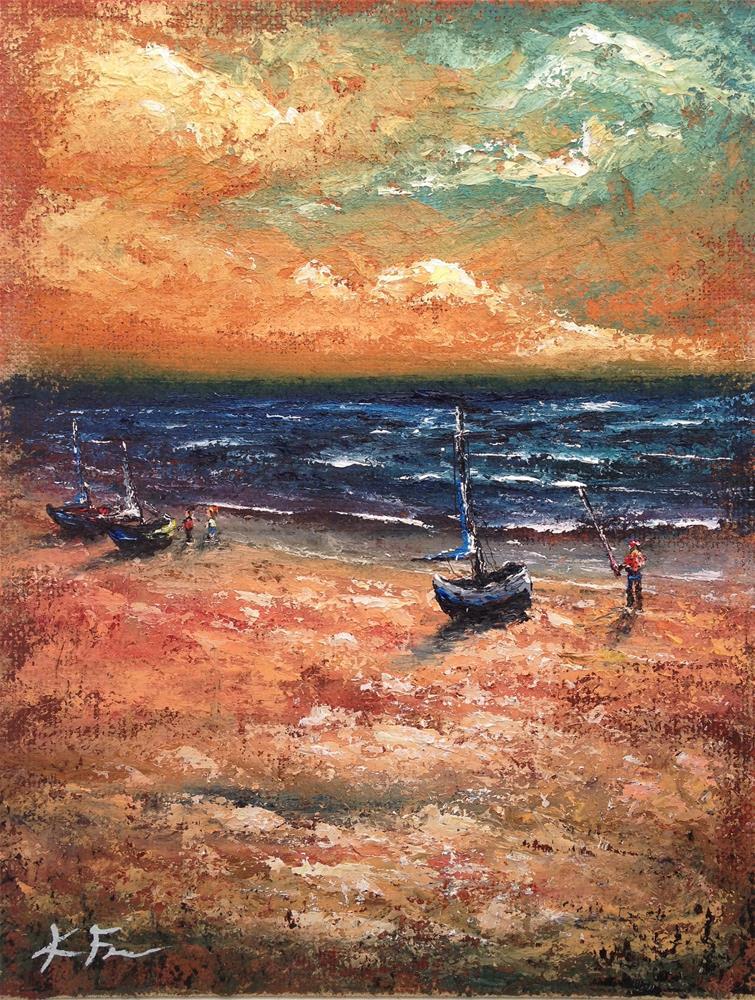 """Fishin the Surf II"" original fine art by Ken Fraser"