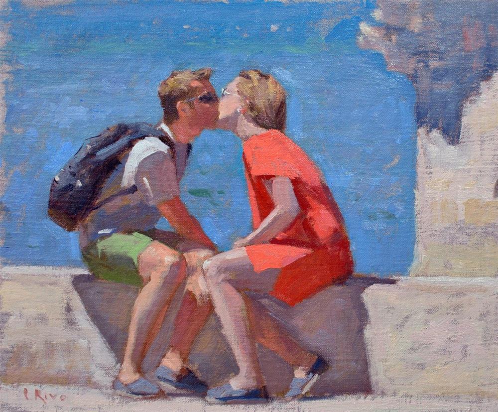 """Lisbon Kiss"" original fine art by Lena Rivo"