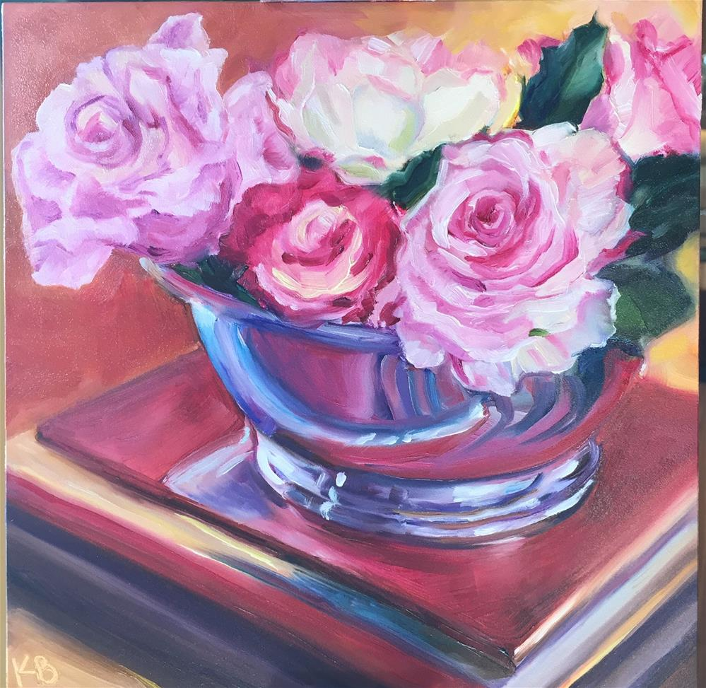 """Roses in a silver bowl"" original fine art by Kim Boyer"