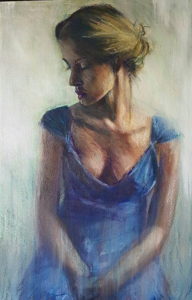 """Blue dress"" original fine art by Rentia Coetzee"
